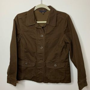 Women's Lands End Brown button up jacket.
